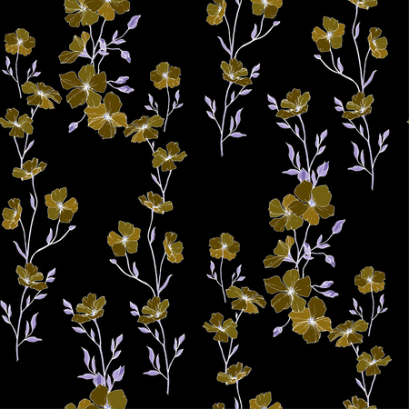 Vector. Flax floral botanical flower. Spring leaf wildflower. Engraved ink art. Seamless pattern on black background. Fabric wallpaper print texture.