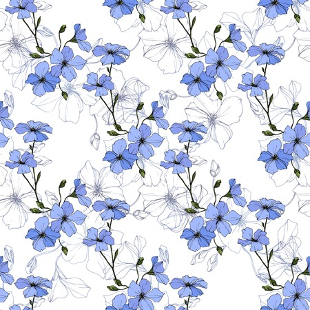 Vector. Blue flax. Floral botanical flower. Spring leaf wildflower. Engraved ink art. Seamless pattern on white background. Fabric wallpaper print texture. Archivio Fotografico - 125014915