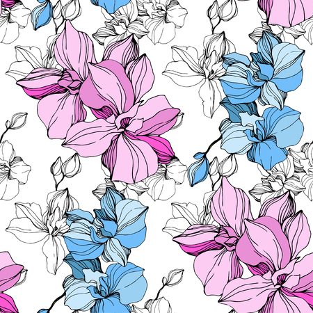 ベクターピンクとブルーの蘭。花の植物の花。野生の春の葉野生の花が孤立しています。刻印されたインクアート。シームレスな背景パターン。ファブリック壁紙の印刷テクスチャ。 ベクターイラストレーション