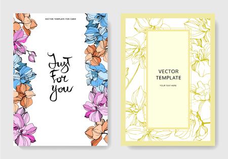 Vektor Rosa, orange und blaue Orchideenblume. Gravierte Tintenkunst. Hochzeit Hintergrundkarte floral dekorative Grenze. Danke, Rsvp, Einladung elegante Kartenillustrations-Grafiksatzfahne.