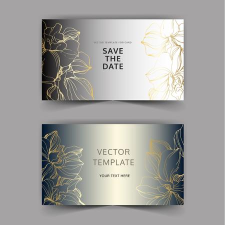 Vector Golden orchid flower. Wild spring leaf wildflower. Engraved ink art. Wedding background card floral decorative border. Thank you, rsvp, invitation elegant card illustration graphic set banner.