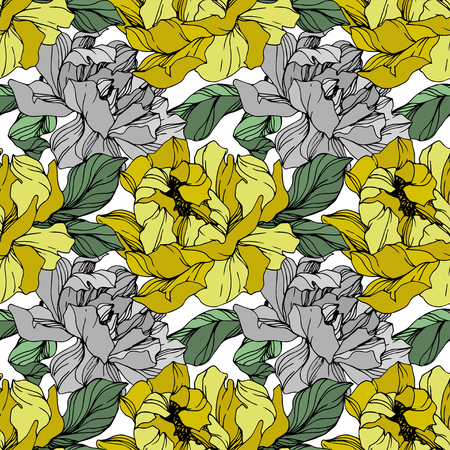 Vector Grey and yellow peony. Floral botanical flower. Wild spring leaf wildflower isolated. Engraved ink art. Seamless background pattern. Fabric wallpaper print texture. Illustration