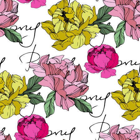 Vector Pink and yellow peony. Floral botanical flower. Wild spring leaf wildflower isolated. Engraved ink art. Seamless background pattern. Fabric wallpaper print texture. Ilustracje wektorowe