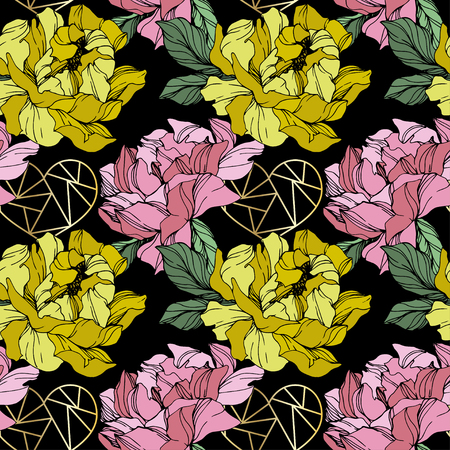 Vector Pink and yellow peony. Floral botanical flower. Wild spring leaf wildflower isolated. Engraved ink art. Seamless background pattern. Fabric wallpaper print texture.