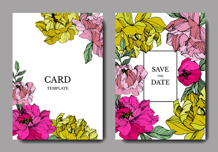 Vector Pink and yellow peony. Floral botanical flower. Engraved ink art. Wedding background card floral decorative border. Thank you, rsvp, invitation elegant card illustration graphic set banner.