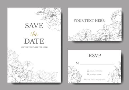 Vector Silver peony. Floral botanical flower. Engraved ink art. Wedding background card floral decorative border. Thank you, rsvp, invitation elegant card illustration graphic set banner.