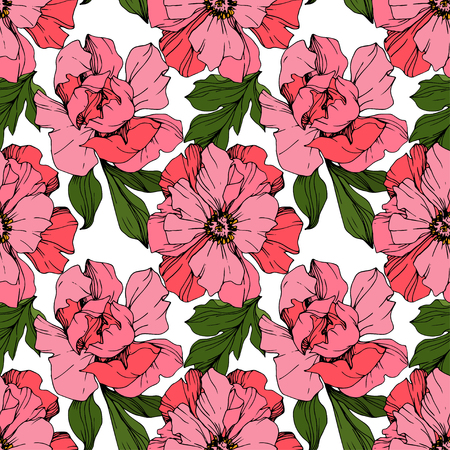 Vector Pink peony. Floral botanical flower. Wild spring leaf wildflower isolated. Engraved ink art. Seamless background pattern. Fabric wallpaper print texture.
