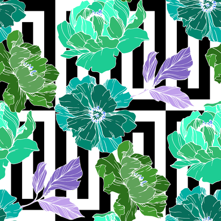Vector Green peony. Floral botanical flower. Wild spring leaf wildflower isolated. Engraved ink art. Seamless background pattern. Fabric wallpaper print texture.