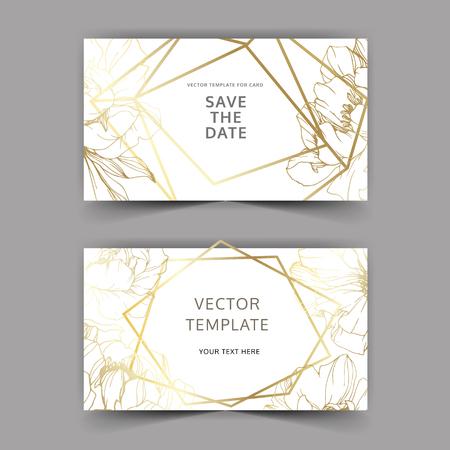 Vector Golden peony. Floral botanical flower. Engraved ink art. Wedding background card floral decorative border. Thank you, rsvp, invitation elegant card illustration graphic set banner.