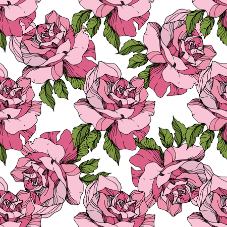 Vector Pink rose. Floral botanical flower. Engraved ink art. Seamless background pattern. Fabric wallpaper print texture on white background.