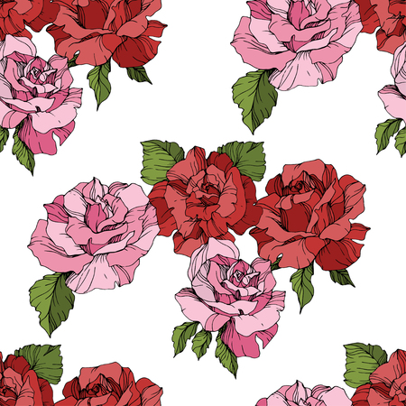 Vector Pink and red rose. Floral botanical flower. Engraved ink art. Seamless background pattern. Fabric wallpaper print texture on white background.