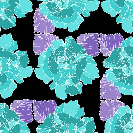 Vector Blue rose. Floral botanical flower. Engraved ink art. Seamless background pattern. Fabric wallpaper print texture on black background.