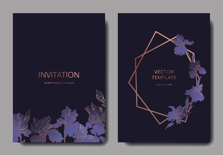 Vector Blue, purple and yellow iris botanical flower. Engraved ink art. Wedding background card floral decorative border. Thank you, rsvp, invitation elegant card illustration graphic set banner.
