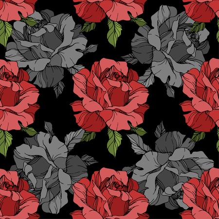 Vector Grey and red rose. Floral botanical flower. Engraved ink art. Seamless background pattern. Fabric wallpaper print texture on white background.