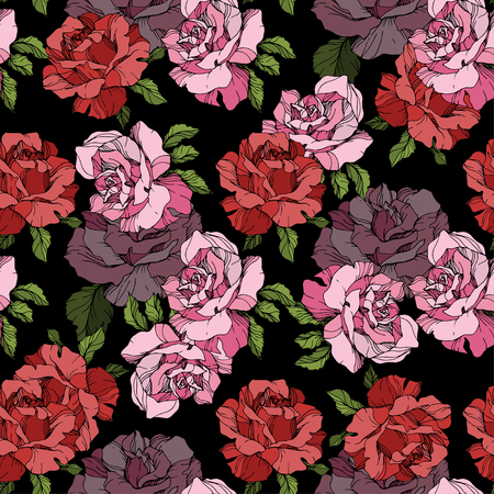 Vector Pink and red rose. Floral botanical flower. Engraved ink art. Seamless background pattern. Fabric wallpaper print texture on black background.