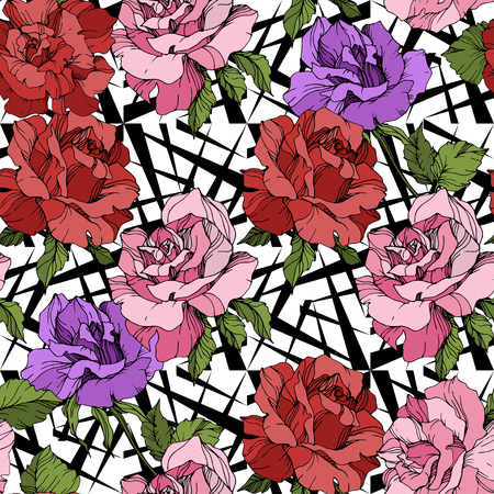 Vector Pink, red and purple rose. Floral botanical flower. Engraved ink art. Seamless background pattern. Fabric wallpaper print texture on white background.