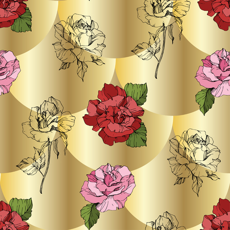 Vector Pink and red rose. Floral botanical flower. Engraved ink art. Seamless background pattern. Fabric wallpaper print texture on golden background.