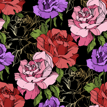 Vector Pink, red and purple rose. Floral botanical flower. Engraved ink art. Seamless background pattern. Fabric wallpaper print texture on black background.