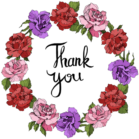 Vector Rose floral wreath. Floral botanical flower. Pink, red and purple engraved ink art. Thank you handwriting monogram calligraphy.