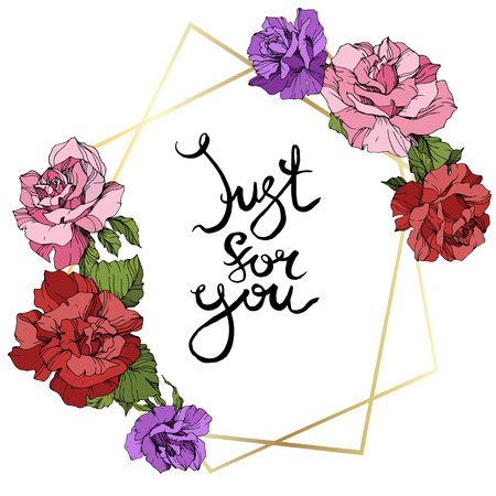 Vector Rose flower golden crystal frame. Pink, red and purple engraved ink art. Geometric crystal polyhedron shape on white background. Just for you handwriting monogram calligraphy.