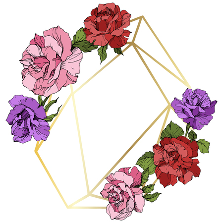 Vector Rose flower golden crystal frame. Pink, red and purple engraved ink art. Geometric crystal polyhedron shape on white background.