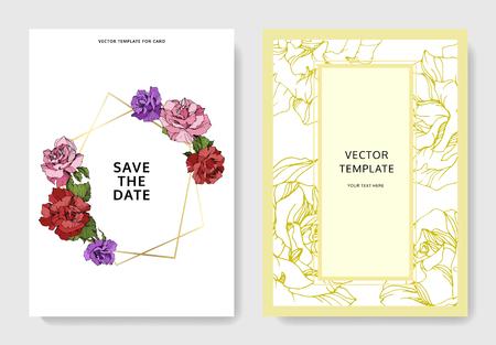Vector Red, pink and purple rose wedding background card floral decorative border. Save the Date invitation elegant card illustration graphic set banner. Engraved ink art.
