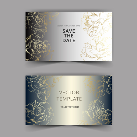 Vector Golden rose flowers on silver card. Wedding background card floral decorative border. Thank you, rsvp, invitation elegant card illustration graphic set banner. Engraved ink art.