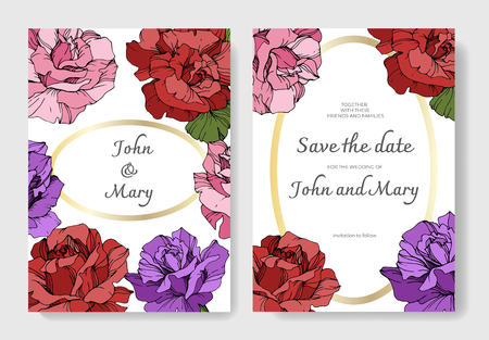 Vector Pink, yellow and purple rose flower on the card. Wedding background card floral decorative border. Thank you, rsvp, invitation elegant card illustration graphic set banner. Engraved ink art. Illustration