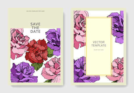 Vector Pink, yellow and purple rose flower on the card. Wedding background card floral decorative border. Thank you, rsvp, invitation elegant card illustration graphic set banner. Engraved ink art. Illustration