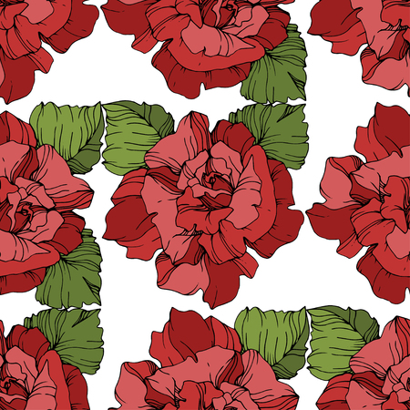 Vector Red rose. Floral botanical flower. Engraved ink art. Seamless background pattern. Fabric wallpaper print texture on white background.