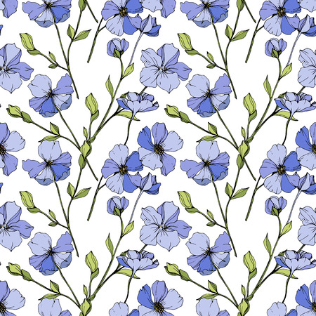 Vector Blue flax. Floral botanical flower. Wild spring leaf wildflower isolated. Engraved ink art. Seamless background pattern. Fabric wallpaper print texture. Ilustracja