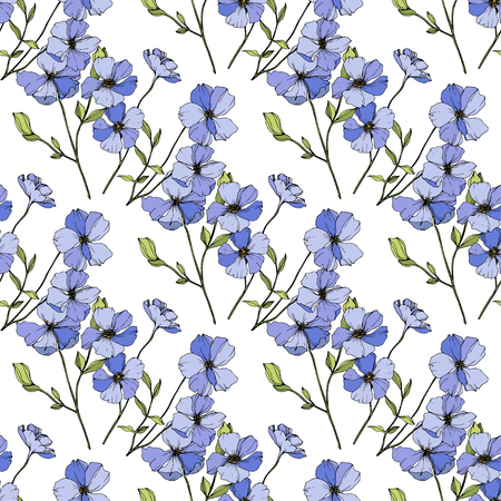 Vector Blue flax. Floral botanical flower. Wild spring leaf wildflower isolated. Engraved ink art. Seamless background pattern. Fabric wallpaper print texture. Illusztráció