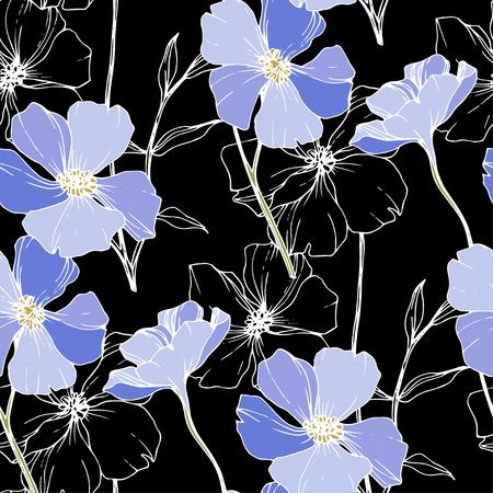 Wektor Niebieski len. Kwiatowy kwiat botaniczny. Wildflower liść wiosna dzikiego na białym tle. Grawerowana sztuka tuszu. Bezszwowe tło wzór. Tkanina tapeta tekstura wydruku.