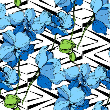 Vector. Orchid botanical flower. Blue engraved ink art. Seamless background pattern. Fabric wallpaper print texture on white background.
