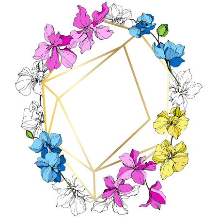 Vector. Orchid botanical flower. Pink, blue and yellow engraved ink art. Frame golden crystal. Geometric crystal stone polyhedron mosaic shape. 일러스트