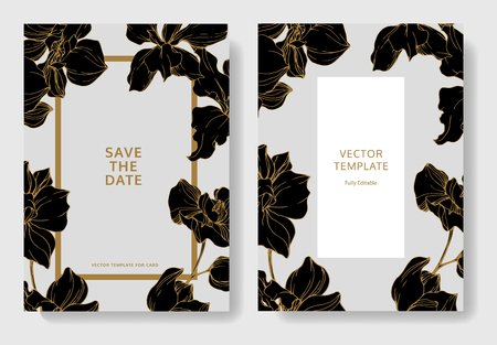 Vector. Orchid botanical flower. Black and golden engraved ink art. Wedding background card floral decorative border. Thank you, rsvp, invitation elegant card illustration graphic set banner.