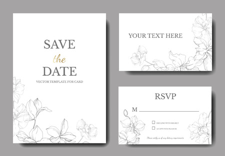 Vector. Orchid botanical flower. Gray and white engraved ink art. Wedding background card floral decorative border. Thank you, rsvp, invitation elegant card illustration graphic set banner.