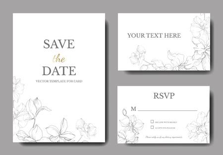 Vettore. Fiore botanico dell'orchidea. Inchiostro inciso grigio e bianco art. Bordo decorativo floreale della carta del fondo di nozze. Grazie, rsvp, banner set grafico illustrazione elegante carta di invito.