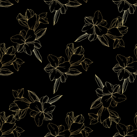 Vector Golden Orchid. Floral botanical flower. Engraved ink art. Seamless background pattern. Fabric wallpaper print texture.