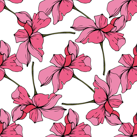 Vector Pink Orchid. Floral botanical flower. Engraved ink art. Seamless background pattern. Fabric wallpaper print texture.