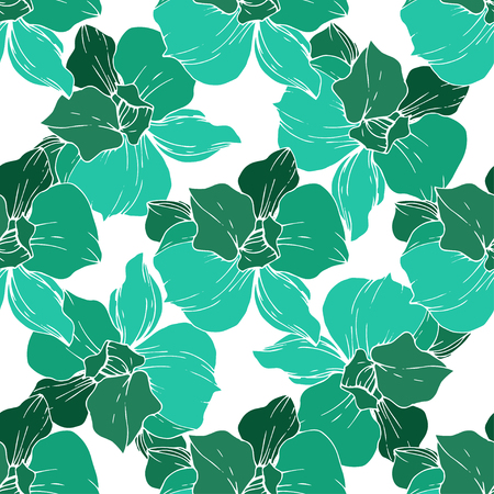 Vector Green Orchid. Floral botanical flower. Engraved ink art. Seamless background pattern. Fabric wallpaper print texture.