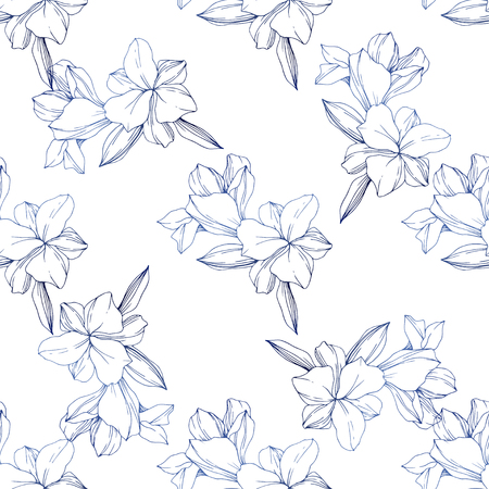 Vector Blue Orchid. Floral botanical flower. Engraved ink art. Seamless background pattern. Fabric wallpaper print texture. Archivio Fotografico - 125017351