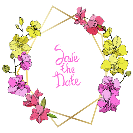 Vector Pink and yellow Orchid. Floral botanical flower. Engraved ink art. Frame golden crysta. Save the Date handwriting monogram calligraphy. Geometric polygon crystal mosaic shape.