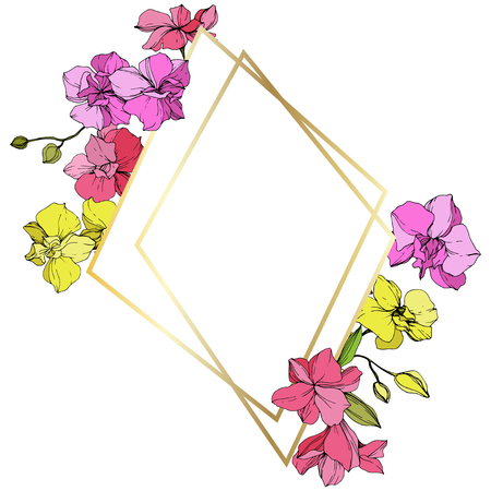Vector Pink and yellow Orchid. Floral botanical flower. Engraved ink art. Frame golden crystal. Geometric polygon crystal mosaic shape.