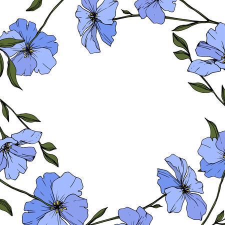 Vector. Blue flax. Floral botanical flower with green leaves. Engraved ink art. Floral flower border design.
