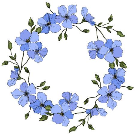 Vektor. Blauer Flachs. Botanische Blumenblume mit grünen Blättern. Gravierte Tintenkunst. Rahmenblumenkranz.