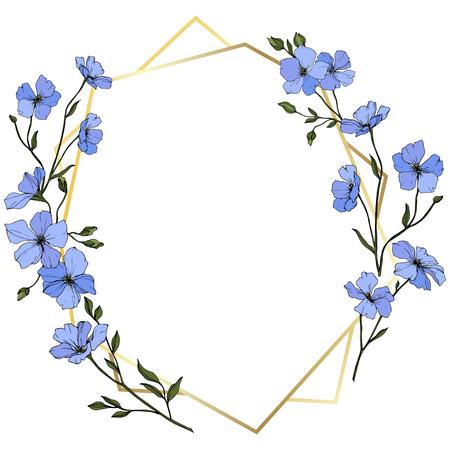 Vector. Blue flax. Floral botanical flower. Spring leaf wildflower. Engraved ink art. Frame golden crystal. Geometric crystal stone polyhedron mosaic shape.