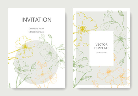 Vector. Flax flower. Engraved ink art. Wedding white background card floral decorative border. Thank you, rsvp, invitation elegant card illustration graphic set banner.