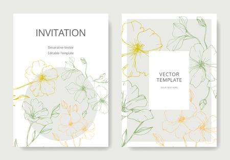 Vektor. Flachs Blume. Gravierte Tintenkunst. Hochzeit weiße Hintergrundkarte dekorative florale Grenze. Danke, Rsvp, Einladung elegante Kartenillustrations-Grafiksatzfahne.