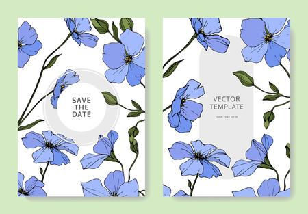 Vector. Blue flax flower. Engraved ink art. Wedding white background card floral decorative border. Thank you, rsvp, invitation elegant card illustration graphic set banner.